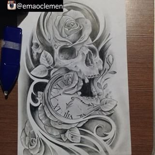 Skull And Clock Drawing Emao (@emaoclemen) instagram photos and videos
