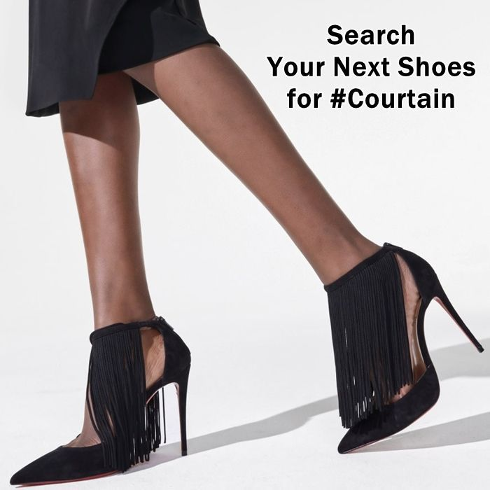 This Courtain Stiletto Is Made From Ultra Soft Black Calfskin Suede The Body Of The Shoe Is Styled On A Classic Kate Stiletto With A Pointy Toe And 100mm Heel In 2020 With