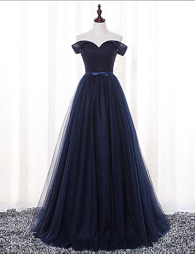 Floor-length Satin / Tulle Bridesmaid Dress A-line Off-the-shoulder with Sash / Ribbon / Criss Cross 4932401 2016 – $89.99
