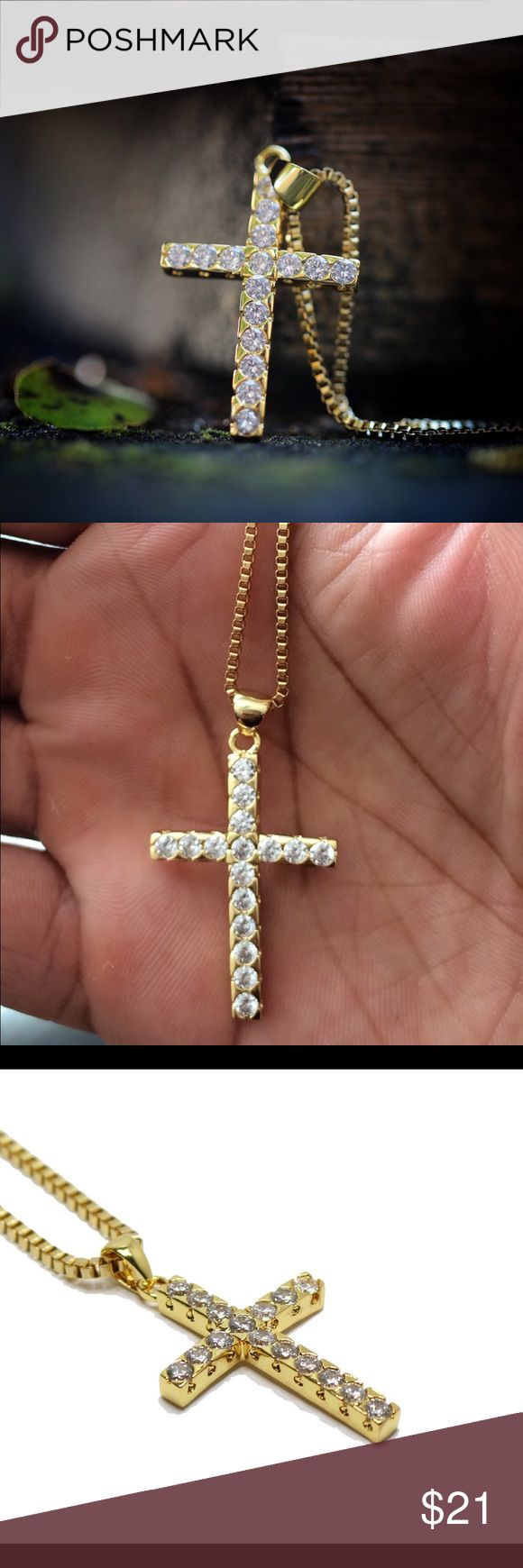 14K Gold Plated Hip Hop Cross Chain This cross piece and chain is made of stainless steel with a 14K gold plating on top.Comes with a 20,22,24 or 26 inch 2mm stainless steel 14K Gold Plated box chain.The length of this piece is 15mm (Mini Micro Size). Ts Verniel  Jewelry Necklaces