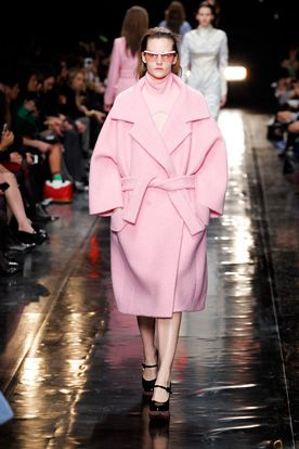 Carven's giant pink coat for AW14 is the most comforting cocoon