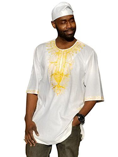 Off-White African Dashiki Shirt with Golden Orange Embroidery - Off-White African Dashiki Shirt with Golden Orange Embroidery 100% Cotton Vibrant colors Available in Size Small to 7XL Colors include - Off-White and Golden Golden Orange Comfortable fit Hat sold separately