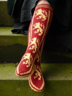 Gryffindor Pride - Knitter's adore these socks that feature the Medieval heraldic design of Gryffindor.  Harry Potter Knitting.