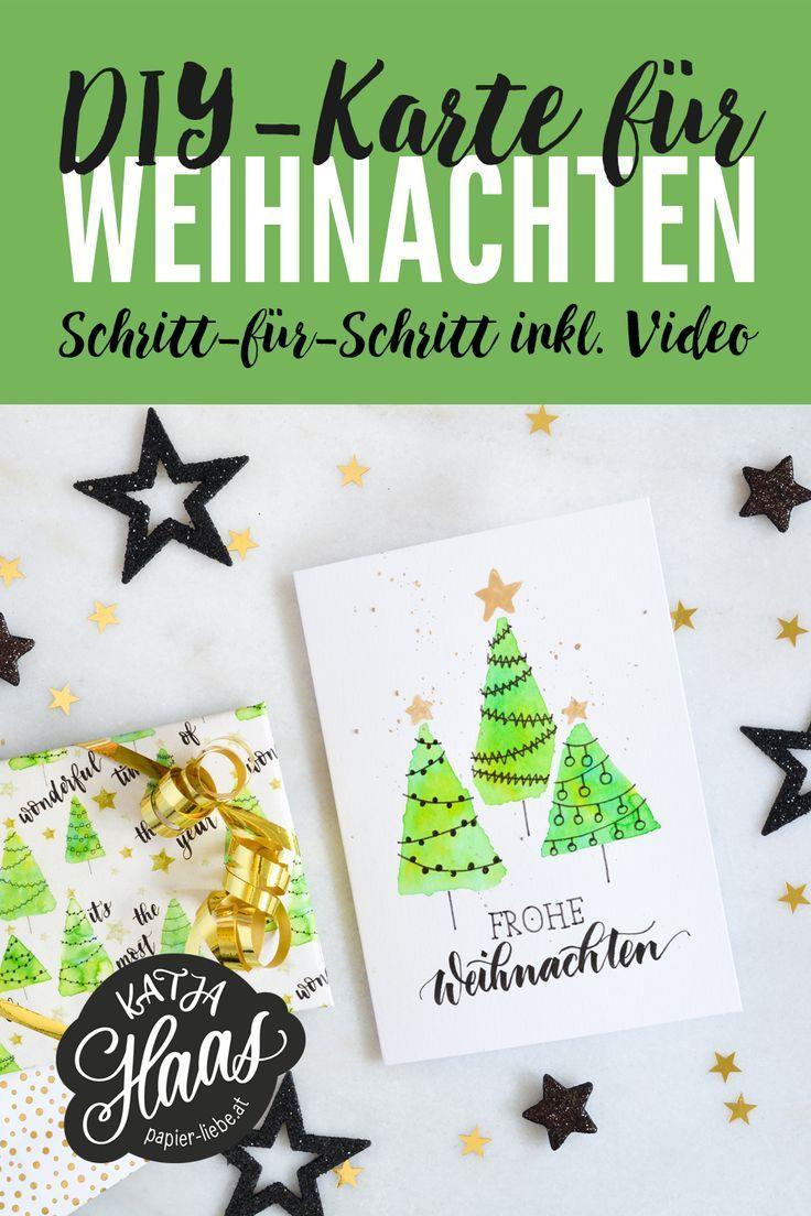DIY: Weihnachtskarte und Geschenkpapier | Weihnachtskarten basteln ...