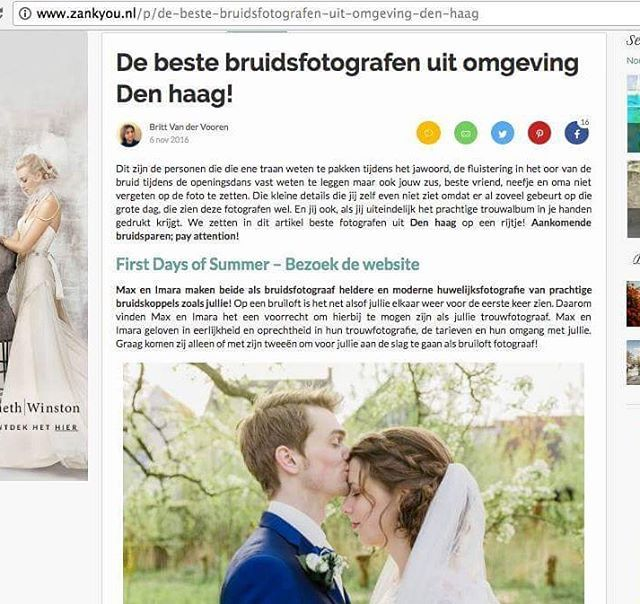 Zank You selected us as the best dutch wedding photographers in the Hague area of the Netherlands. Such an honour! #beste bruidsfotograaf den haag #soproud #zankyou.nl