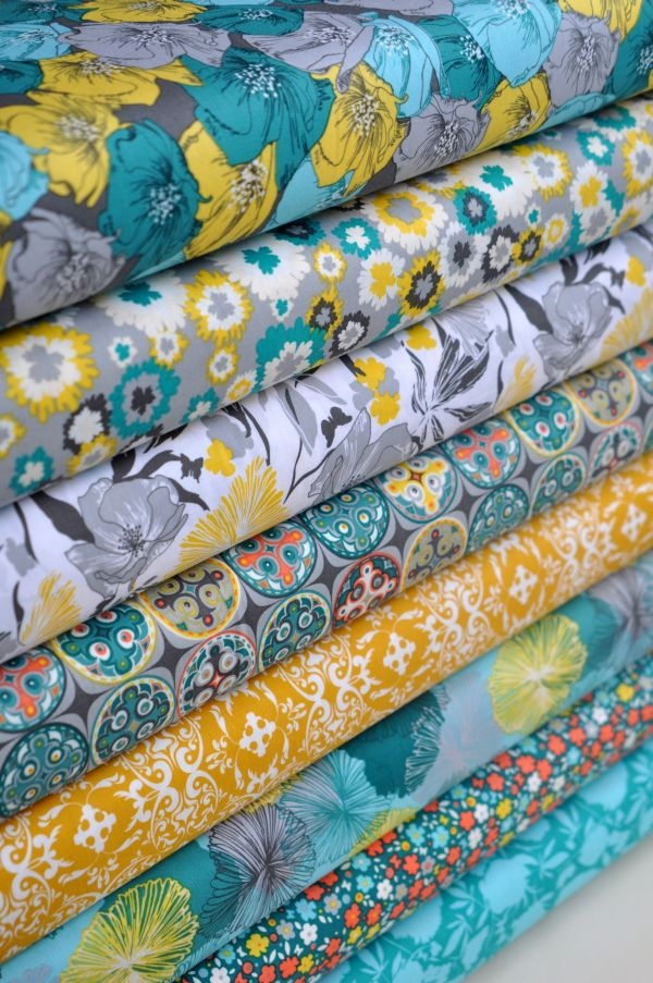 Love these Khristian A Howell fabrics together. - potential living room colours