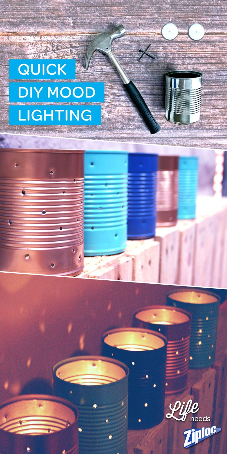 Make cute and easy up-cycled DIY mood lighting from old cans! Great craft inspiration for summer parties and BBQs! After poking holes in the cans, paint them to match patio furniture! Totes chic.
