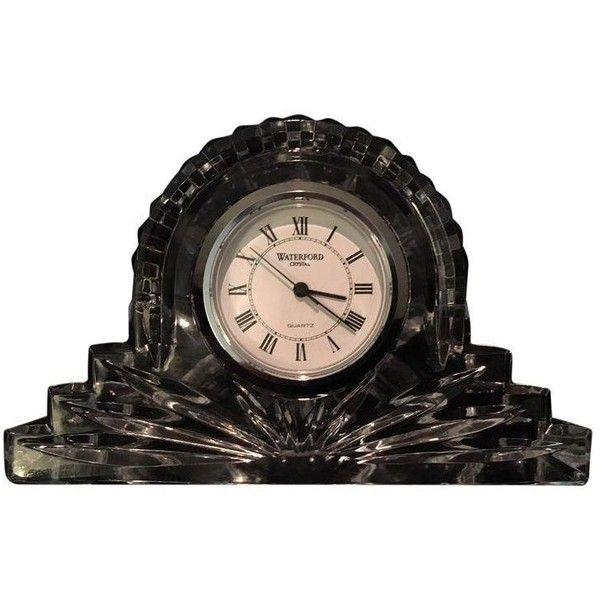 """Petite Waterford Crystal """"Wharton"""" Mantel Clock (205 SAR) ❤ liked on Polyvore featuring home, home decor, clocks, waterford, white clock, second hand clock, waterford desk clock and black mantle clock"""