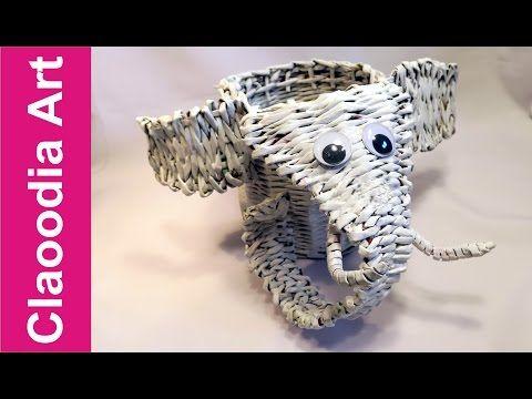 слон, бумага плетеная - YouTube