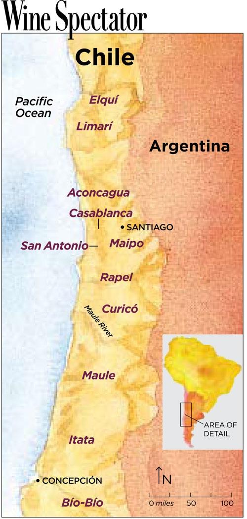 Chile Wine Map   Wine Spectator - March 2012