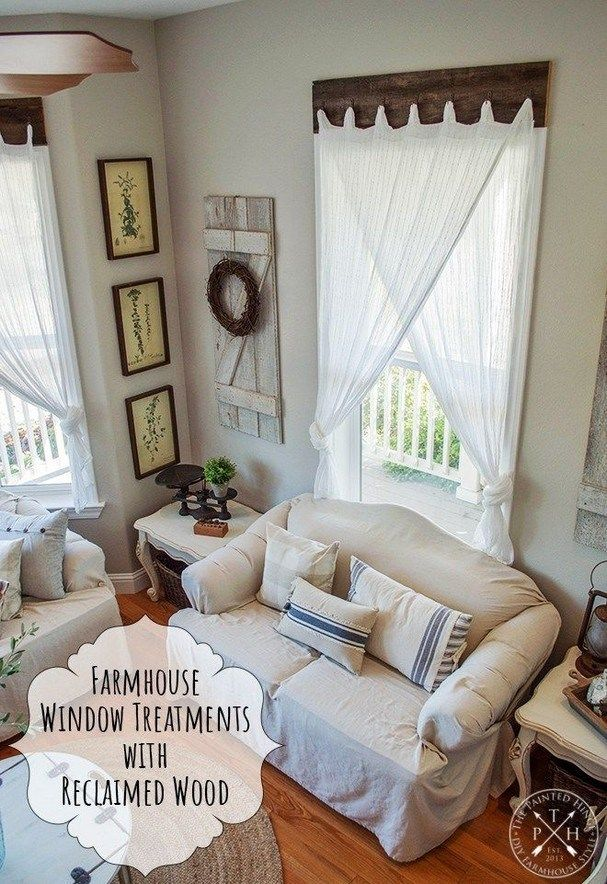 10 Easy Farmhouse Window Treatments Ideas Farmhousedecor Farmhousehomedesi Window Treatments Living Room Farm House Living Room Modern Farmhouse Living Room