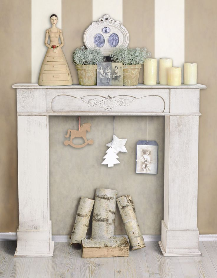 Caminetto decorativo in legno di Paulonia  #shabby #chic #shabbychic #home #house #provence #style #fireplace #decorations #fakefireplace #christmas #decorating #white #wood #stripes #striped #wall #beige #vintage #retro #style #cool #feminine #houses #furniture #online #shopping #diy #tutorial #design #gift #gifts #presents #present #idea #ideas