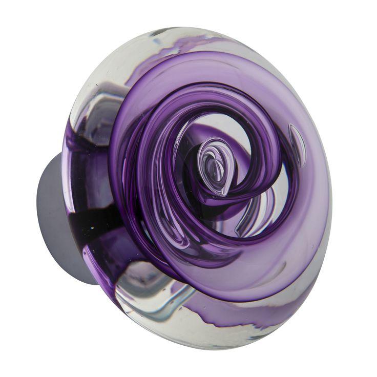 bouton de porte disque en verre gamme s duction type tube de bulles violet hyacinthe fait main. Black Bedroom Furniture Sets. Home Design Ideas