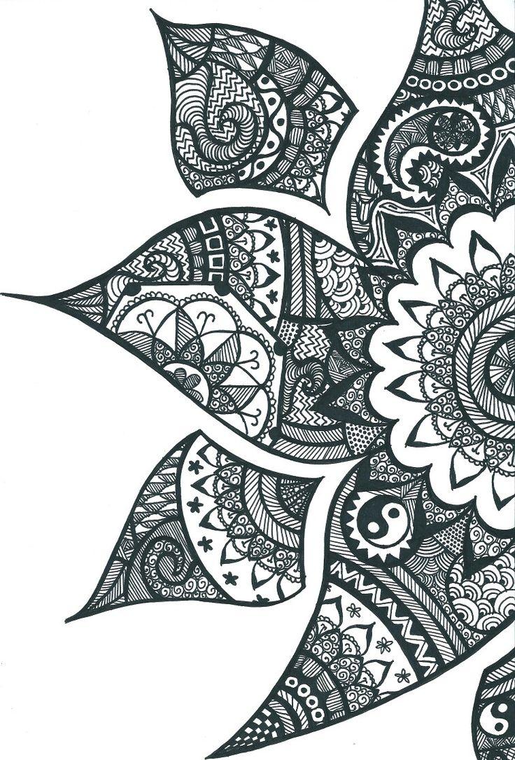 Flower mandala ying yang