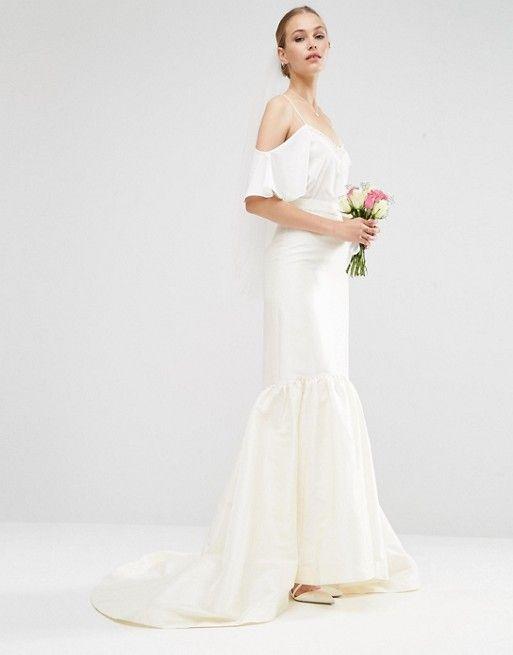 ASOS   Свадебная атласная юбка с годе ASOS