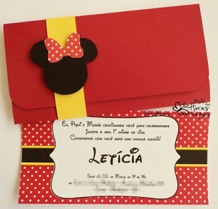 convite artesanal infantil minnie mouse disney mickey delicado aniversário 1 aninho menina