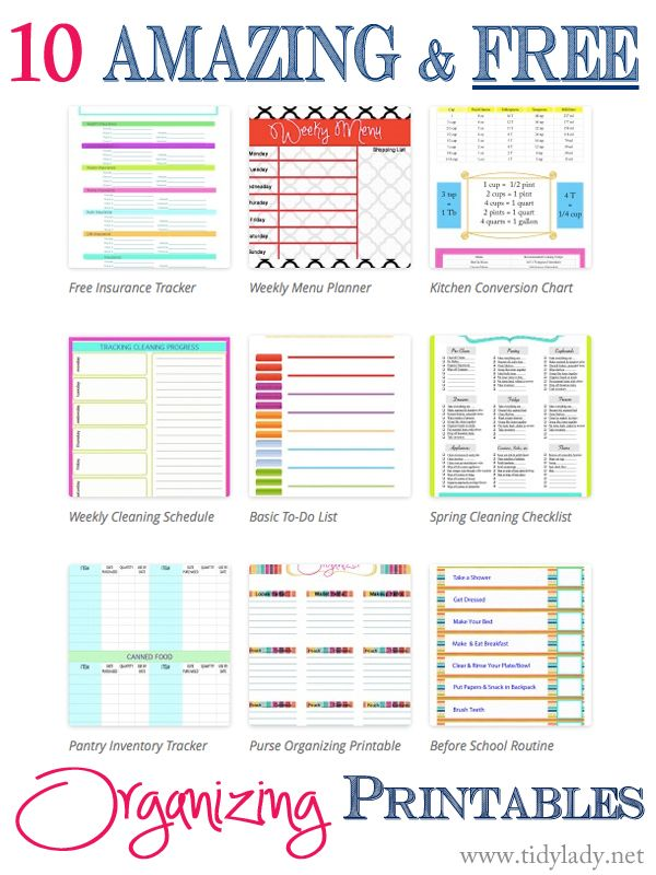 10 Amazing and FREE Printables | Tidy Lady Printables
