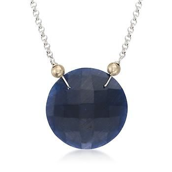 "Ross-Simons - 20.00 Carat Sapphire Pendant Necklace in Two-Tone. 18"" - #791448"