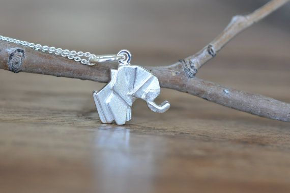 Sterling Silver Origami Elephant Necklace, Gold Elephant Necklace, Silver…