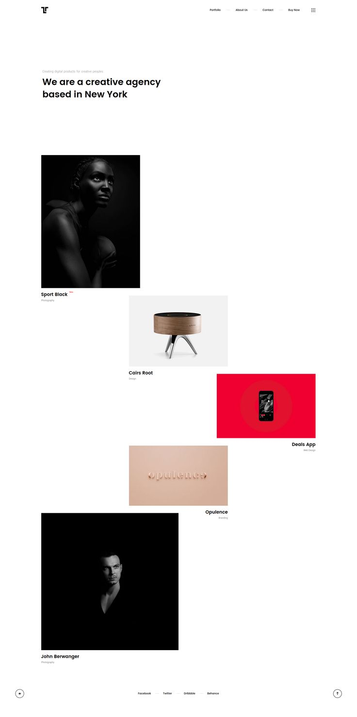 Tetriz - Creative portfolio website layout grid. Best for an artist or a photographer