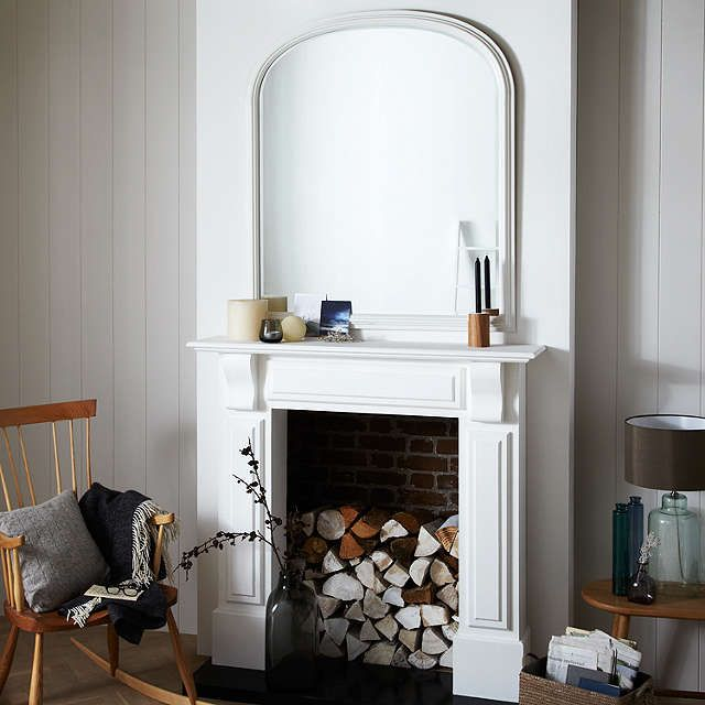 BuyJohn Lewis Croft Collection Large Overmantle Mirror, 120 x 100cm, White Online at johnlewis.com