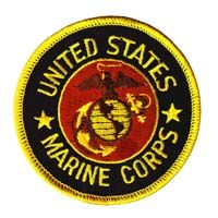 US Marine Corps Patch Embroidered Logo on Black Twill Backing can be ironed or sewn on $2.95