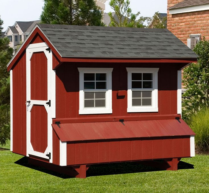 Amish red quaker chicken coop 5 x 8 for Red chicken coop