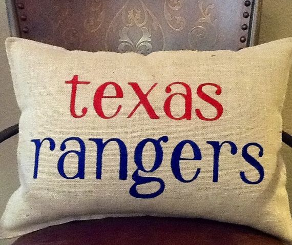 TEXAS RANGERS Stenciled Burlap Pillow by BurlapPillowsEtc on Etsy
