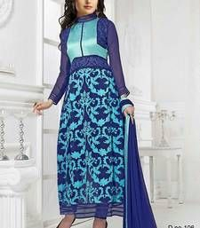 Buy Blue Georgette Embroidered stitching salwar with dupatta collar-neck-design online