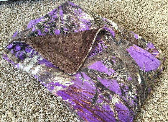 Real Tree Camo Blanket/Real Tree Purple by SewSweetBabyDesigns