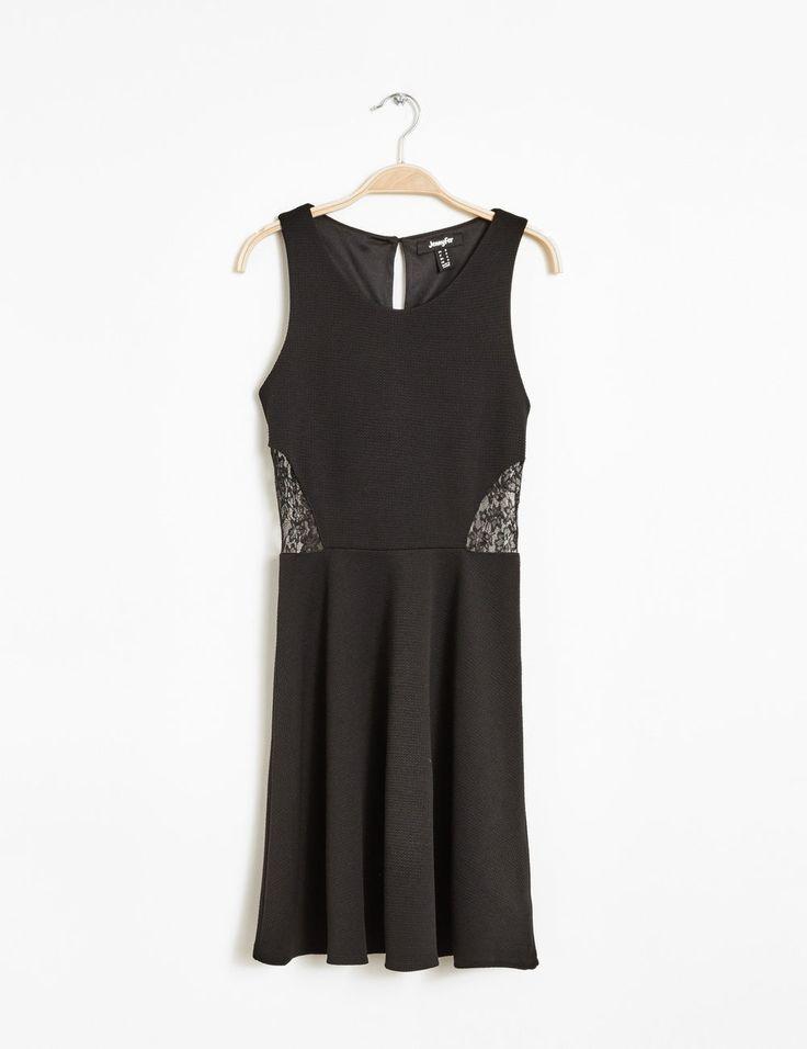 Robe bi-matière noire femme • Jennyfer