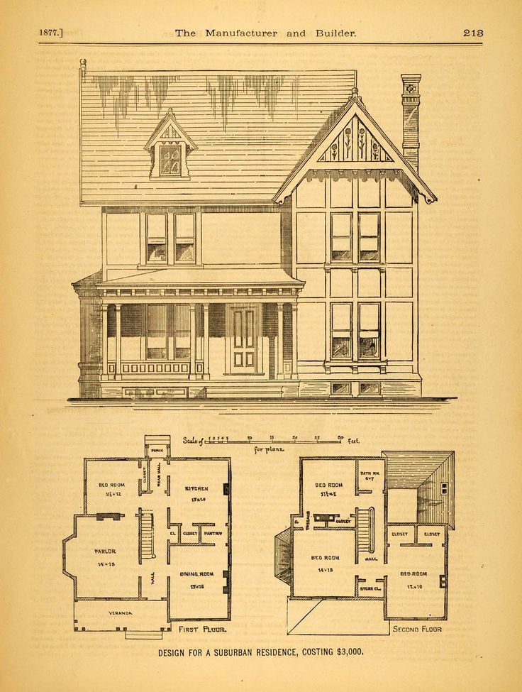 1877 Print Victorian Suburban House C M Morgan