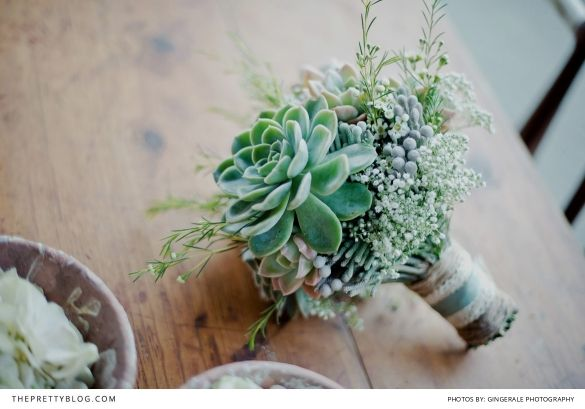Beautiful green succulent bouquet | Photographers: GingerAle Photography
