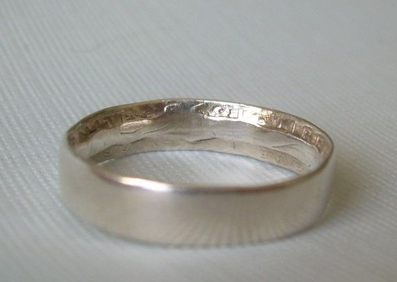 1890's French Franc Coin Ring Size 6.25 Vintage Antique Sterling 835 Silver-Pre WWI-Soldier Trench Art-Wedding Band-Francais (MT00315)