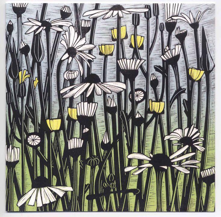 'Daisy Field' - Linocut by Helen Roddie