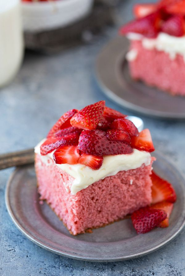 A delicious, homemade-from-scratch strawberry cake with a thick cream cheese frosting and garnished with sugared strawberries. The perfect cake for Mother's Day!   Right in time for Mother's Day, I've got you covered for dessert. This strawberry cake is relatively simpleto make (no worrying about different pans and layering cakes with frosting in between),...