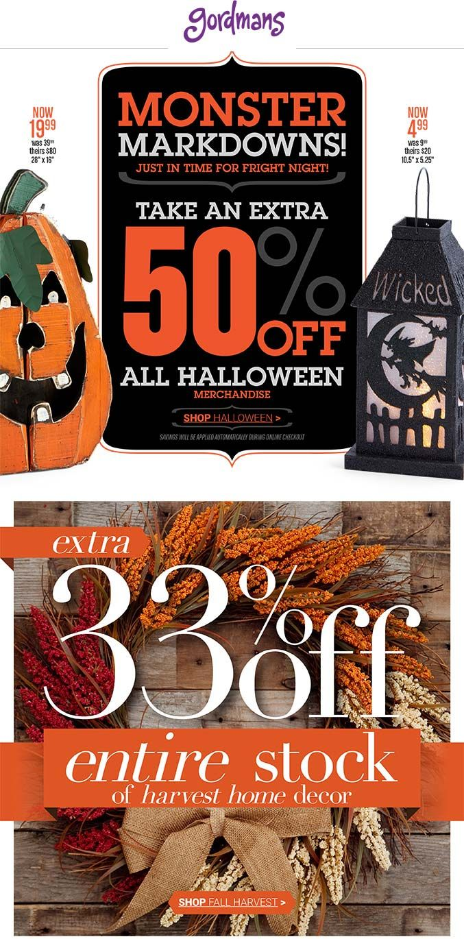 Pinned October 30th: Extra 50% off #Halloween at Gordmans #coupon via The #Coupons App