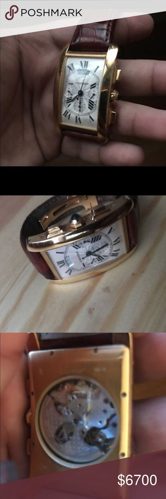 Cartier Tank Americaine Cartier watch used, cartier tank americaine 18k Gold Automatic Gronograph +Calendar.With certificate.Rare watch Sapphire crystal Crown topped with blue sapphire cabochon. Sapphire Glass. Cartier Accessories Watches