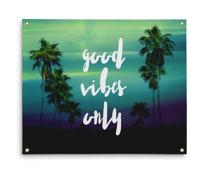 "Bring only positivity in to your beach style interior settings with this  decorative wall tapestry backdrop hanging accent, featuring a vivid green  ombre style design of tropical palm trees throughout! Adorned with the  words ""Good Vibes Only"" in a stylized typography font to promote and bring  in good energy. emojis and feelings, this bohemian chic tapestry accent  comes available in three different sizes to choose from, and makes for  refreshing addition to your interior settings..."