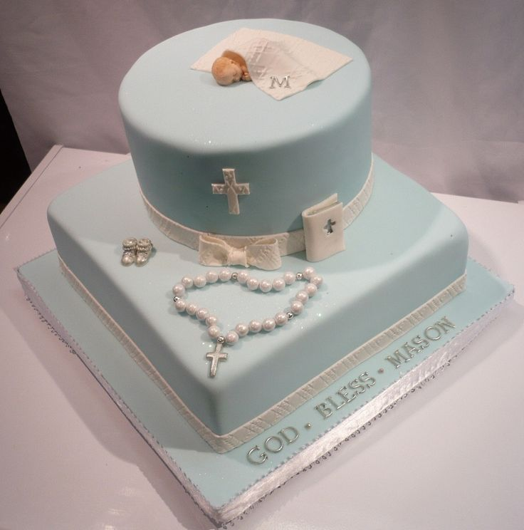 Cakes for Religious Occasions | Religious Occasions Boy Blue Two Tier Round And Square Baptism Cake ...