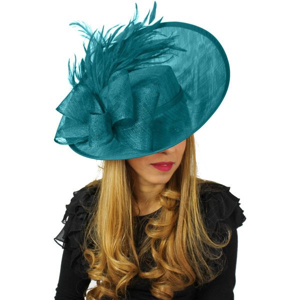 Daiquiri Teal Cocktail Fascinator Hat for Weddings, Races, and Special... (5,120 MXN) ❤ liked on Polyvore featuring accessories and hats