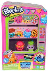 Shopkins Vending Machine  Shopkins are the super cute, fun, small characters that live in a BIG shopping world! Store your Shopkins collection in your Vending Machine Storage Tin! Collect all of the super-cute Shopkins characters and you might be lucky to find some rare characters too! Shopkins Vending Machine Product Features Includes 2 Exclusive Shopkins Vending Machine