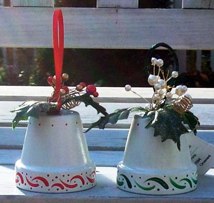 Flower Pot Crafts - Flower Pot Christmas Bells(how to's for angels, Santas, and gingerbread man too)