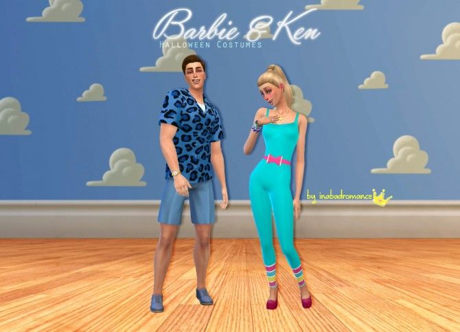 Barbie & Ken Halloween costumes at In a bad Romance via Sims 4 Updates