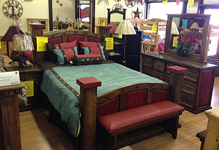 Antique Red Nevada Bed Set Rustic Furniture Depot Www.rusticfurnituredepot. Com 11901 US Hwy 380 Crossroads TX 76227 940 440 0455 | Rustic Bedroom ...