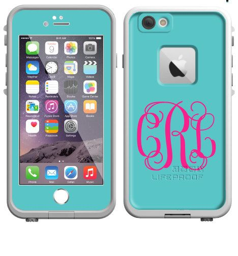 Monogrammed Lifeproof® Phone Case Decal, Personalized Lifeproof® Skin, Lifeproof® Fre, Lifeproof® Nuud, iPhone 5/5C/6/6 Plus, Solid Color