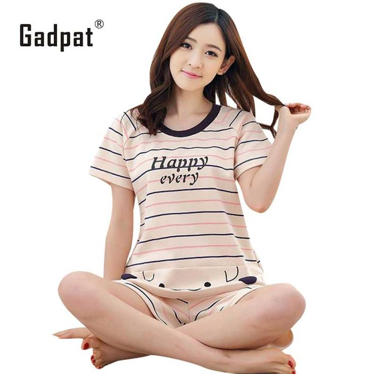Gadpat M-xxl Women Pajamas Sets 100% Cotton Nightwear Summer Short Sleeve Pyjamas O-neck Sleepwear Female Pijamas Mujer #Affiliate