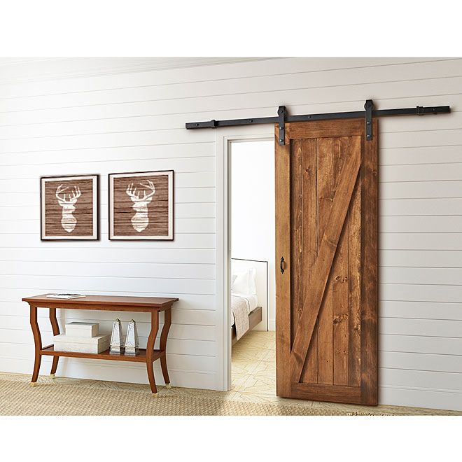 rona barn sliding door rail 199 holds up to 150lbs. Black Bedroom Furniture Sets. Home Design Ideas