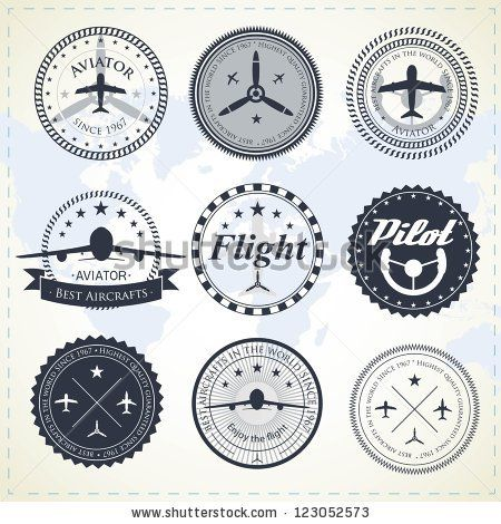 Set of vintage aviation labels by Turovsky, via ShutterStock