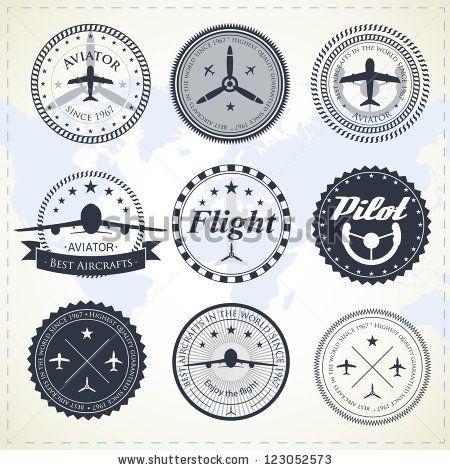 Set of vintage aviation labels by Turovsky, via ShutterStock